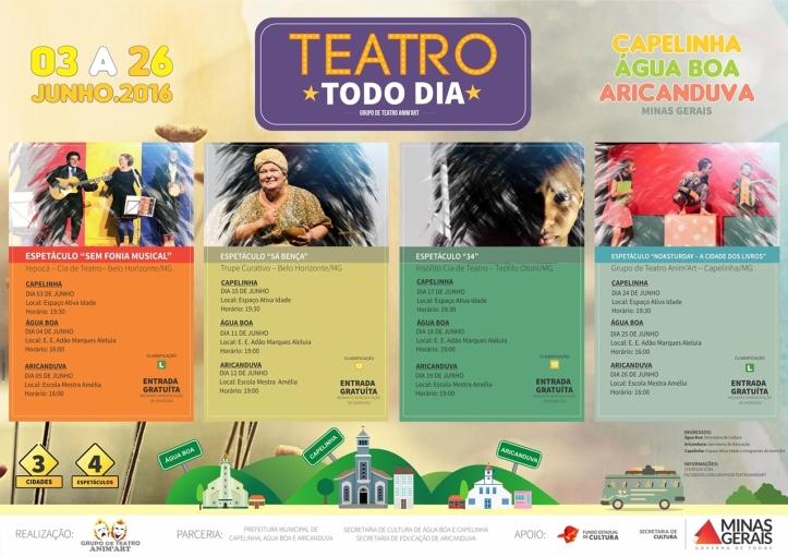 CARTAZ E PANFLETO TEATRO TODO DIA 2016
